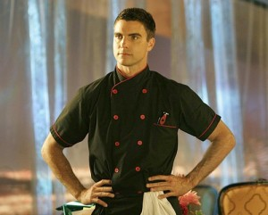Auggie (Colin Egglesfield) wants to get cooking with Riley.
